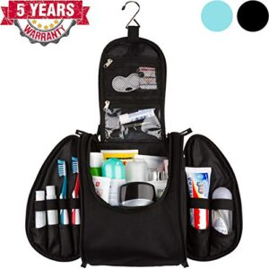 42 Travel Hanging Toiletry Bag – Large Kit Organizer for Men & Women – Spacious & Compact, 17 Compartments for all you need – Strong Zippers, Sturdy Hook, Water Resistant